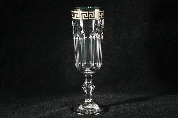 """Набор: 6 хрустальных бокалов для шампанского (0,15 л.)""""Версаче серебро"""""""