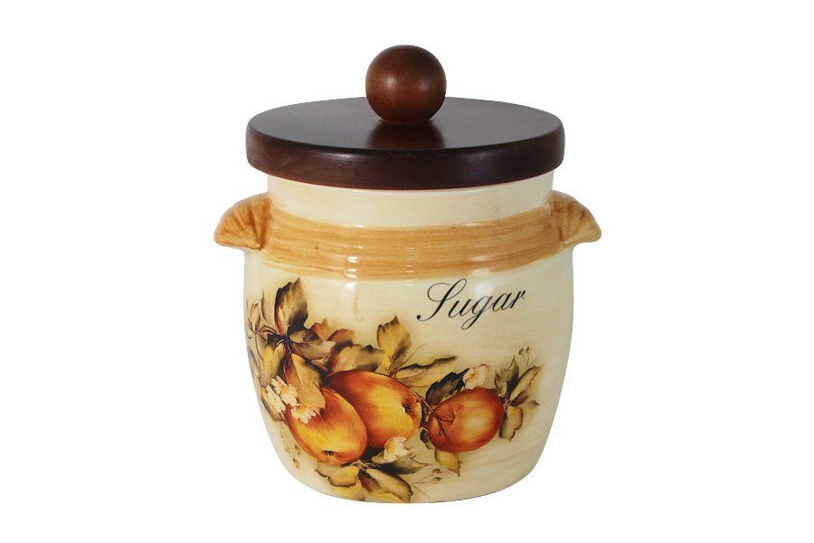 """Банка для сыпучих продуктов с деревянной крышкой (сахар) """"Зимние яблоки"""", 0.75 л"""