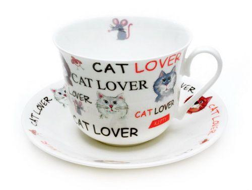 "Чайная пара ""Обожаю кошек"", 500 мл"