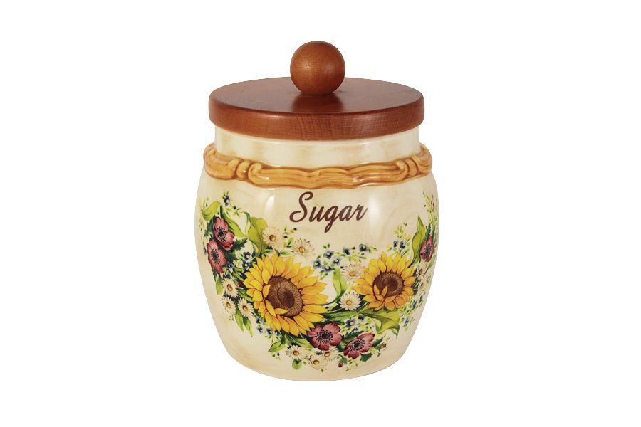 """Банка для сыпучих продуктов с деревянной крышкой (сахар) """"Подсолнухи Италии"""", 1.2 л"""