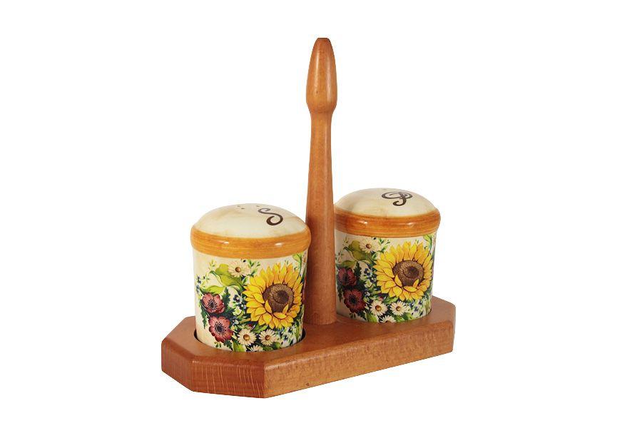 """Набор для специй на деревянной подставке """"Подсолнухи Италии"""""""