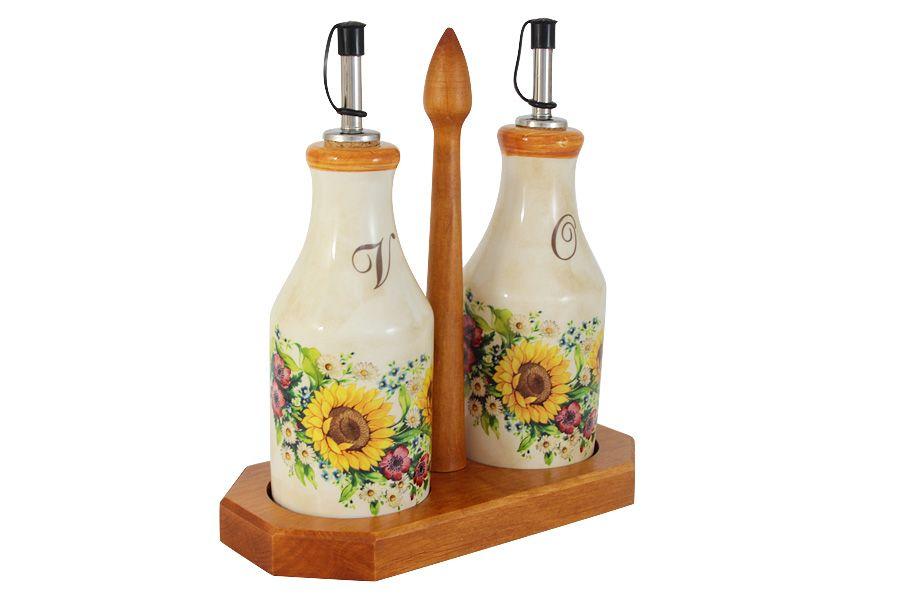 """Набор из 2-х бутылок для масла и уксуса на подставке """"Подсолнухи Италии"""", 0.275 л"""