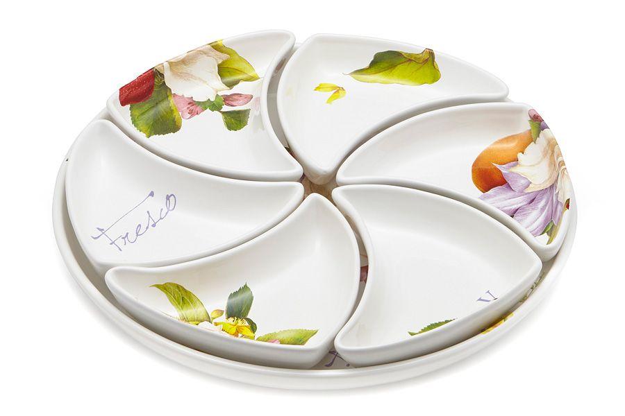 """Набор для закуски (менажница): блюдо + 6 блюд """"Фреско"""", 38 см"""