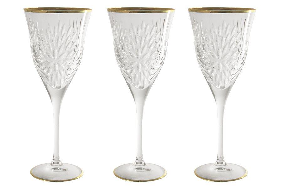 """Набор хрустальных бокалов для вина """"Умбрия Золото"""", 0.25л, 6шт."""