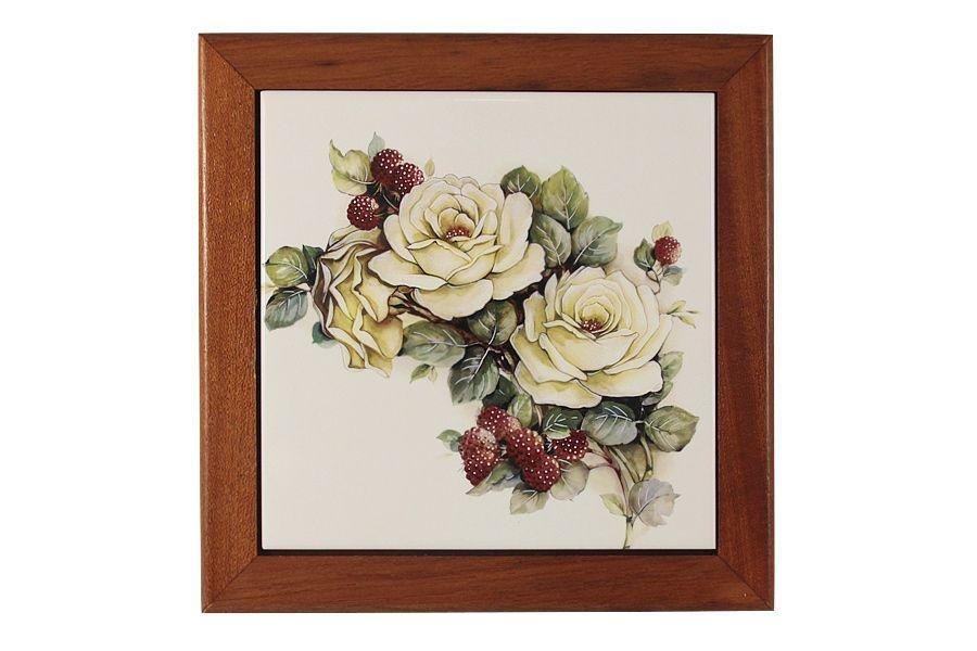 """Подставка под горячее из дерева с керамической вставкой """"Роза и малина"""", 19х19 см"""