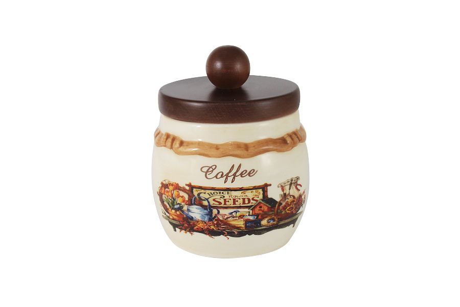 """Банка для сыпучих продуктов с деревянной крышкой (кофе) """"Садовые цветы"""", 0.5 л"""