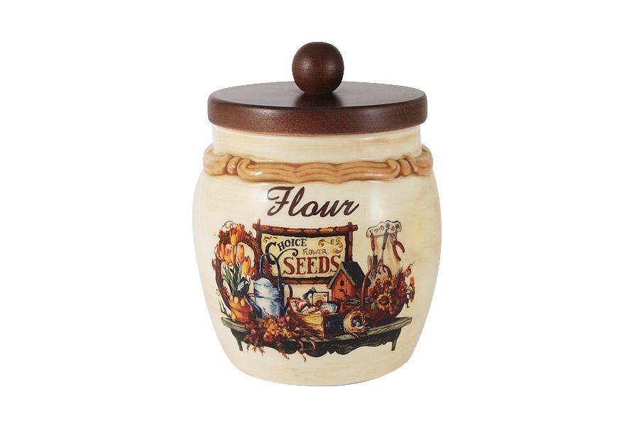 """Банка для сыпучих продуктов с деревянной крышкой (мука) """"Садовые цветы"""", 1.2 л"""