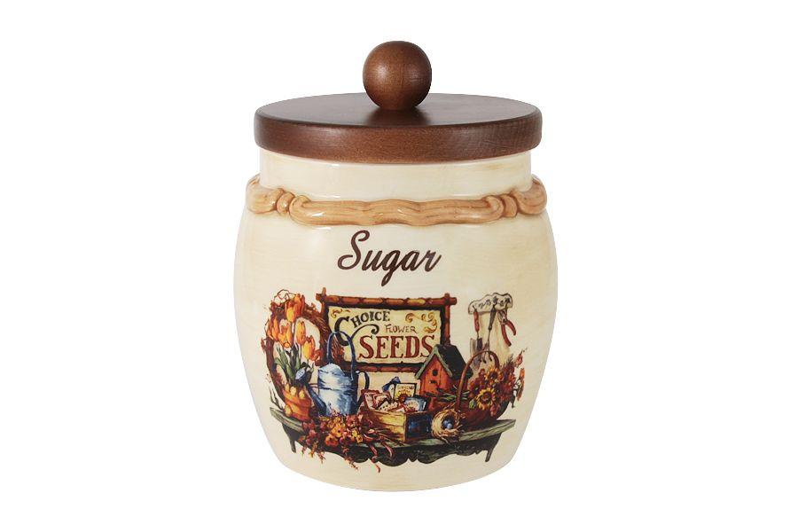 """Банка для сыпучих продуктов с деревянной крышкой (сахар) """"Садовые цветы"""", 1.2 л"""