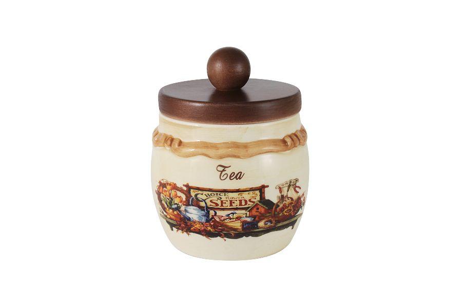 """Банка для сыпучих продуктов с деревянной крышкой (чай) """"Садовые цветы"""", 0.5 л"""
