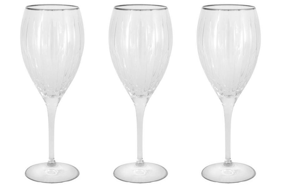 """Набор: 6 хрустальных бокалов для вина """"Пиза серебро"""", 0.275 л"""