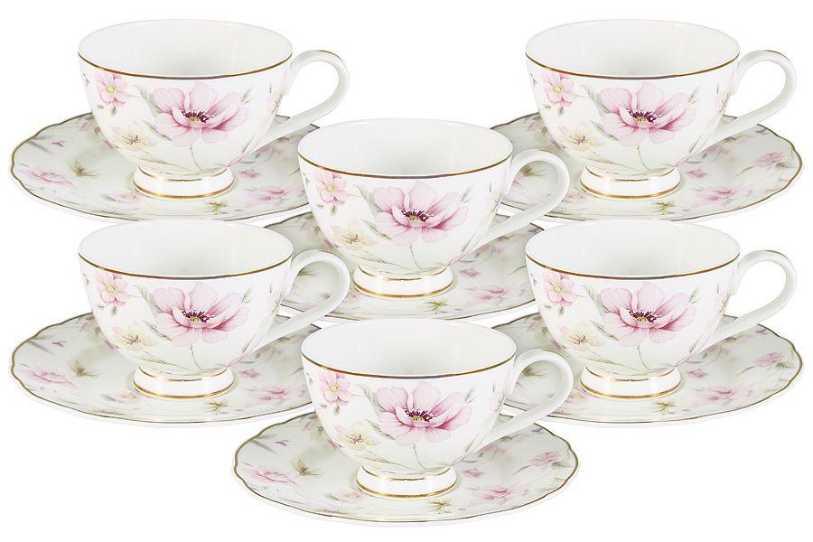 """Чайный набор на 6 персон """"Розовый танец"""", 0.2 л, 12 пр."""